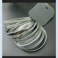 925 Silver Filled Cuff Bangle Stacking Bracelet Wristband Set Handmade Gifts