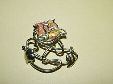 Signed Duri Silvertone & Abalone Shell Flower & Wire Brooch Pin