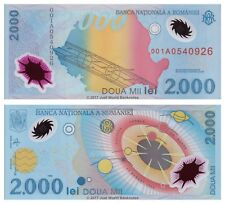 Romania 2000 Lei 1999 Polymer Banknotes  P-111 1st Prefix 001A  UNC