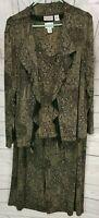 Chicos Travelers Paisley 3 Pc Set Top Jacket Pants Slinky Sz 3 Black & Brown
