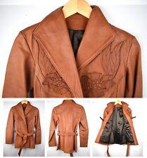VTG 1970s GENUINE East West Musical Instruments Co Leather Jacket Brown Belted S
