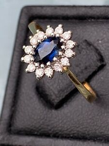 Stunning 18ct Gold Sapphire and Diamond Halo Ring size N