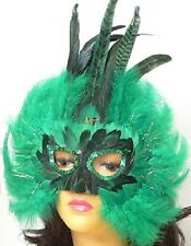 Green Marabou Feather Mask  (AW-FM96)