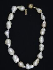 "NATURAL SOUTH SEA 24mm BAROQUE PEARL NECKLACE w/ SOLID 14K GOLD CLASP ~15"" / 65g"