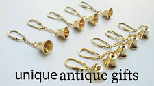 Vintage Antique Nautical Brass Bell KeyChain Keyring Lot of 10 pcs Gift Decore