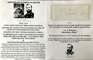 CIVIL WAR GENERAL ANTIETAM WIA COLONEL 10th PA INFANTRY CONGRESS AUTOGRAP SIGNED