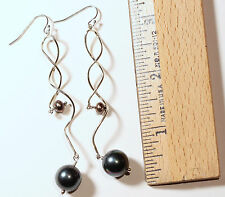 Peacock Black Mother of Pearl Sterling Silver Fancy Dangle Drop Hook Earrings