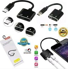 Type C Dual 2in1 Adapter Headphone AUX Audio Charger Splitter For Huawei Samsung