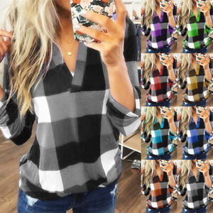 Womens V Neck Loose Blouse Tops Ladies Plaid Checked Casual T Shirt UK Plus Size