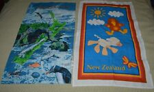 Vintage New Zealand Two Tea Towels Map With Ocean Scene +Colorful 3 X18 Aotearoa