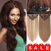 Double Weft 170G Clip In Human Remy Hair Extensions Full Head Thick 24inch AAAA+