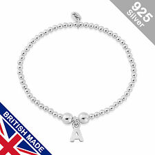 Trink Initial 'A' Letter Charm Sterling Silver Beaded Bracelet Top Gift/Present