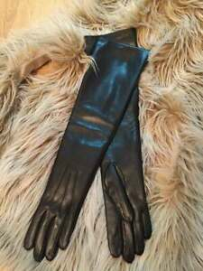 Handmade Women's Evening Napa Leather Lambskin Long Black Gloves