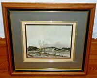 Framed Painting On Board - Landscape Trees & Barn On Hill - Don Hornberger