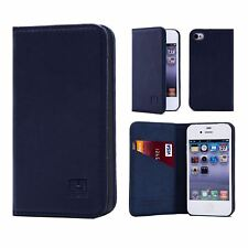 Classic Style Real Leather Book Wallet Case Cover for Apple iPhone 4 & 4s I4.32ndclassic-navyblue Navy Blue
