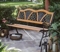 Outdoor Wood Garden Bench Porch Metal Vintage Country Rustic Furniture Seat