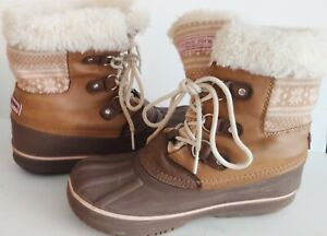 London Fog Snow Boots Water Resistant Brown Tan Lace up Girls Size 3