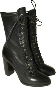 $1485 Sergio Rossi Boots 41 Black Stretch Zipper Ankle Lace Up Booties 10