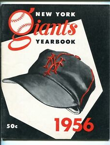 New York Giants Team Yearbook 1956-MLB-photos-stats-Willy Mays-Bob Lemon-FN