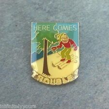 Vintage HERE COMES TROUBLE Travel Skiing Ski Lapel Hat Pin