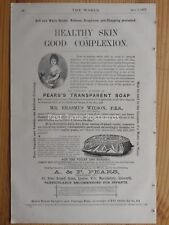 Advert c1877 A.& F. PEARS TRANSPARENT SOAP TABLET Healthy Skin & Good Complexion