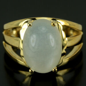 NATURAL AAA WHITE MOONSTONE OVAL CABOCHON STERLING 925 SILVER RING SIZE 6.75