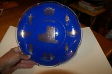 "VINTAGE GLASS BLUE STAINED London Decorative Plate 10"" GOLD DESIGNS W/HANGER"