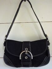 COACH Small Black Signature Soho Canvas Handbag Sliver Hardware Creed E05J-6818