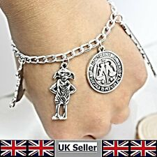 Young Wizard Silver Plated Charms Bracelet Quill  MOM Token Sorting Hat & Dobby