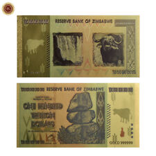 WR Zimbabwé billet de banque $.100 Trillion Dollar Billet d'or Collection