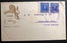 1920s Maracaibo Venezuela Advertising cover To Leominster Ma Usa