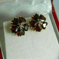 14K Yellow Gold Finish 2.25 TCW Heart Cut Garnet & Diamond Flower Stud Earrings