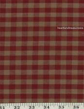 Dunroven House H-32 Homespun Red / Wheat  Checkered Fabric 1/2 Yd Cut Off Bolt