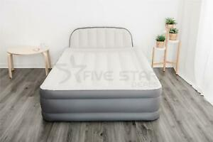 Inflatable High Raised Queen Double Airbed Mattress Built-In Pump w Headboard