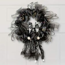Ghoulish Bride & Groom Skeleton Halloween Door Wreath