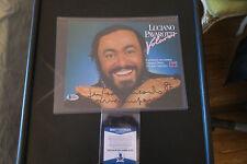Luciano Pavrotti signed advertising card Beckett coa