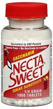 Necta Sweet Saccharin Sugar Substitute 0.25 grain Tablets 1000 Tablets (4 pack)