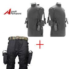 Left + Right Hand Pistol Drop Leg Holster + Pistol Gun Shoulder Pouch Bag Black