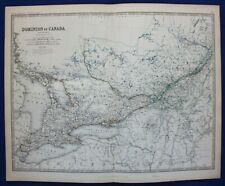 Large antique map DOMINION OF CANADA, ONTARIO, QUEBEC, MONTREAL, Johnston, 1886
