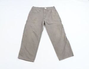 Vintage 90s Levis Mens 34x28 Thrashed Wide Leg Dungaree Chinos Pants Gray Cotton