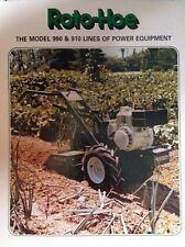 Roto-Hoe 910 990 Tiller Garden Power Unit Tractor FULL COLOR Sales Brochure 16pg