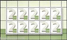Deutschland Ergänzungsmarke 2 Cent Ziffernzeichnung  10er Kleinbogen nassklebend