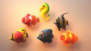 5 Fish +1 Seahorses For Water Columns New Set 2