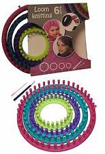 6tlg Set Strickring Strickrahmen Knitting Loom Strickliesel Haken mit Anleitung