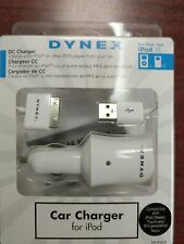 Dynex Car (DC) Charger for Apple iPod DX-IPDC iPhone 4G 4S 4 3G 3GS 30-pin cable