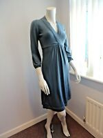 ex BODEN pure merino wool SMOKY BLUE V neck knitted dress UK Size 14 R LONG NEW