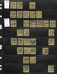 NICE SET OF 30 EIGHT CENT PERF 10X10 WASHINGTON FRANKLIN ISSUE WITH PRECANCELS