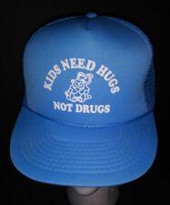 "VINTAGE ADULT SIZE  ""KIDS NEED HUGS NOT DRUGS"" BABY BLUE TRUCKER HAT CAP"