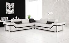 Modern Large LEATHER SOFA Corner Suite NEW RRP £5999 White & black