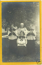 Real Photo Postcard RPPC - Priest and Altar Boys